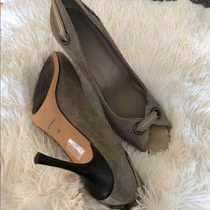 Dior peep toe logo heels tan brown color